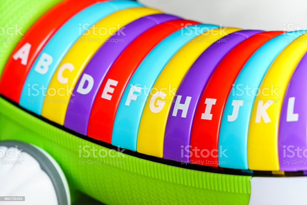 colorful keyboard kid toy for play sound to ABC stock photo