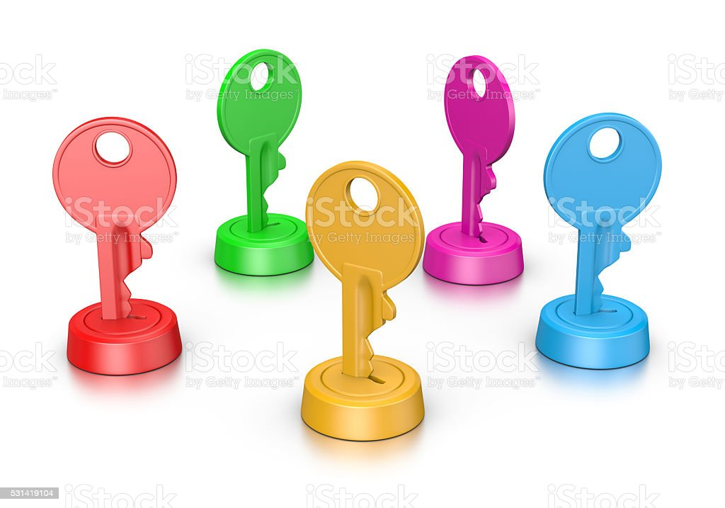 Colorful Keys in the Lock stock photo
