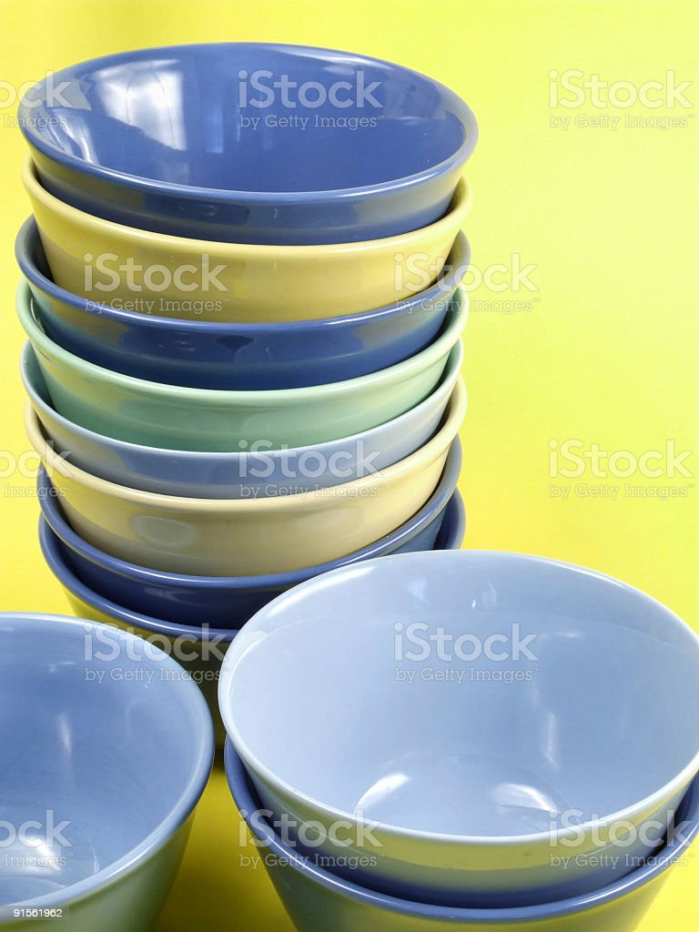 Colorful kitchen bowls royalty-free stock photo