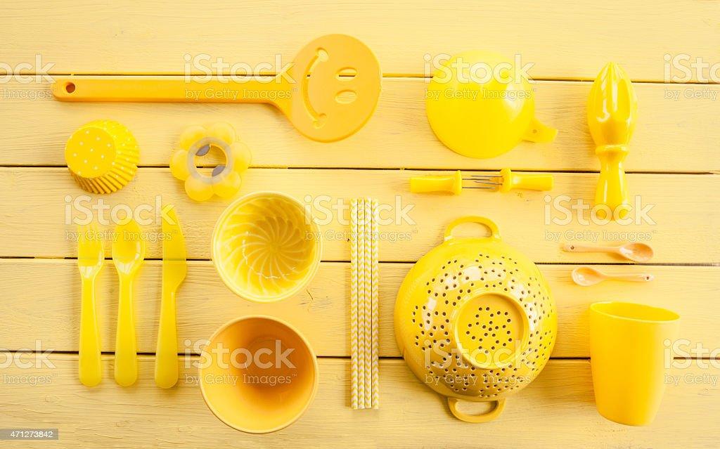Colorful kitchen utensils stock photo