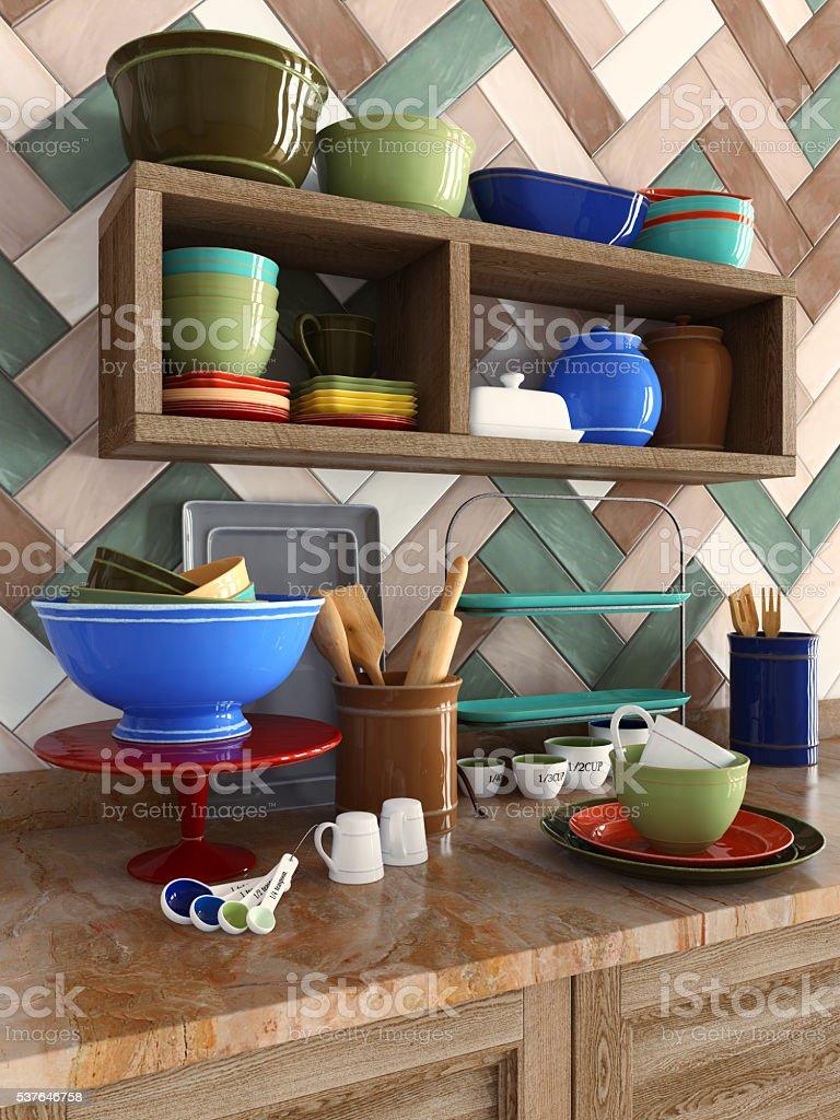 Colorful kitchenware stock photo
