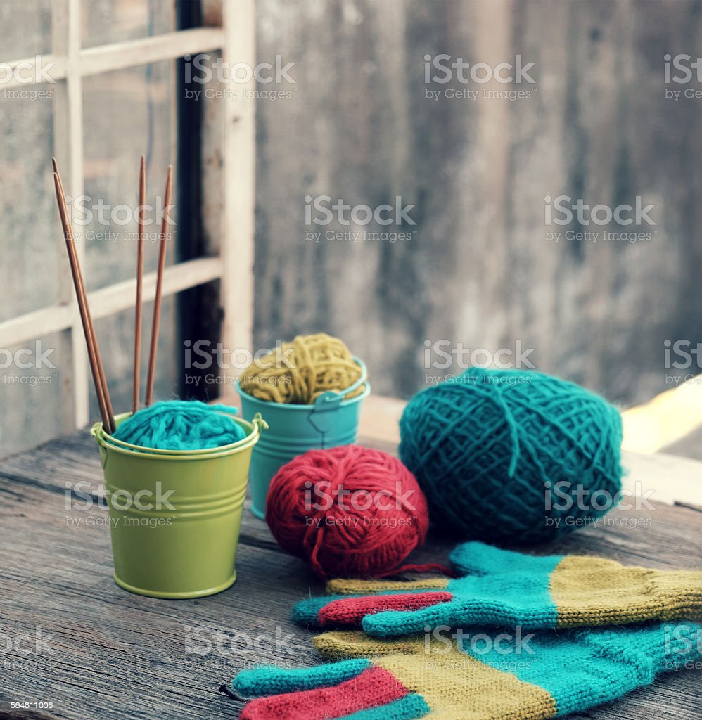 colorful knitted gloves for cold day stock photo