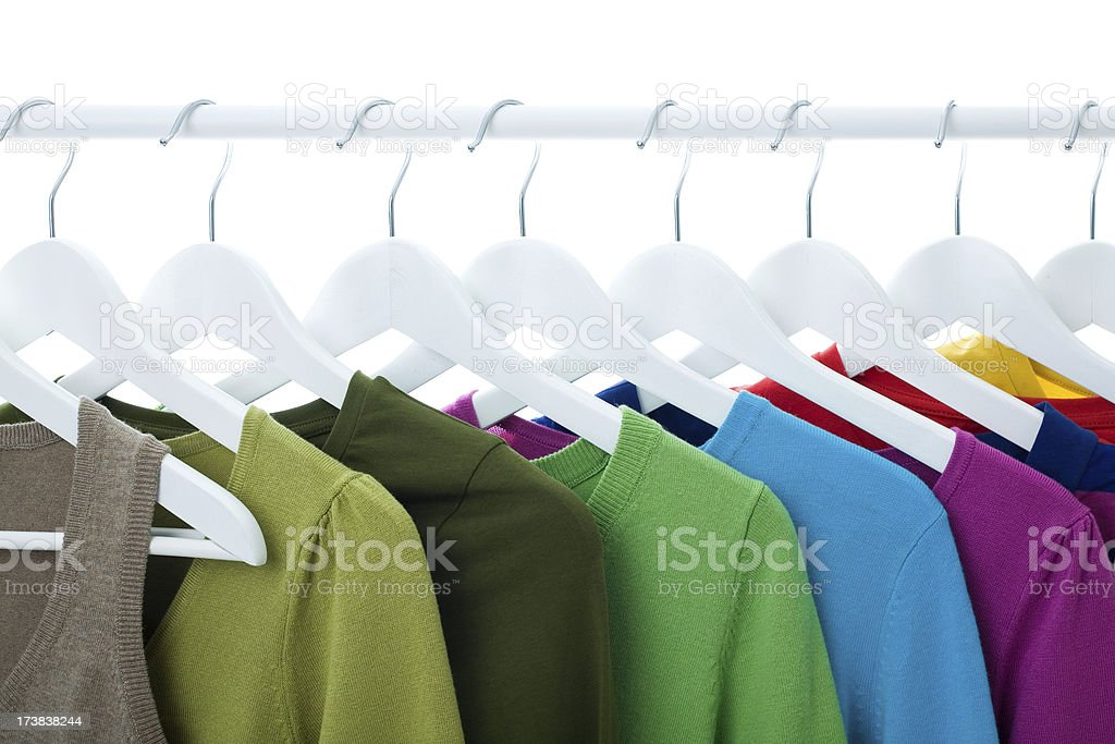 Colorful Knitted Tops Hanging royalty-free stock photo