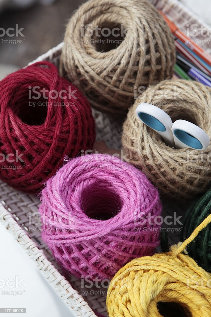 colorful knitting balls on tray with scissor royalty-free stock photo