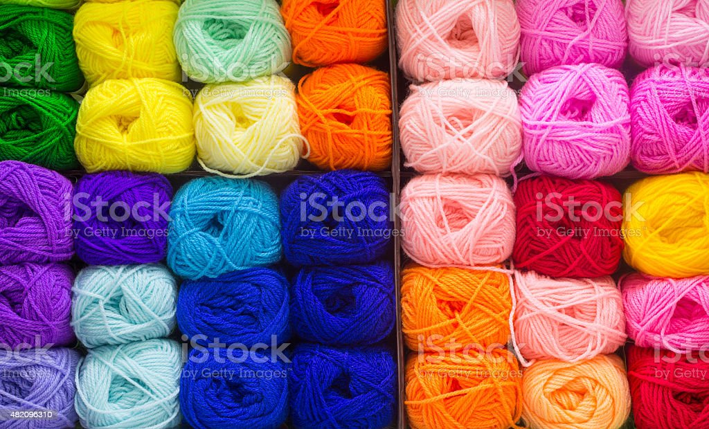 Colorful knitting wool stock photo
