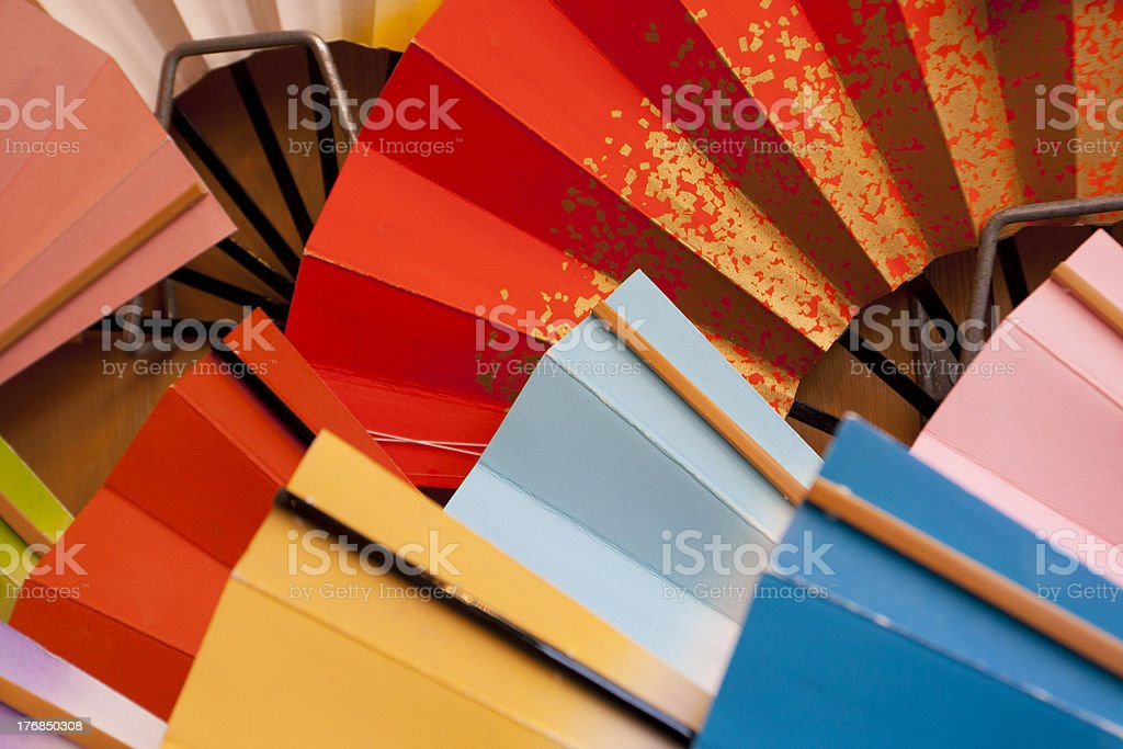 colorful lady fans stock photo