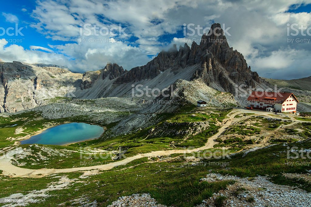 Colorful lake and hackly mountain ridges,Monte Paterno,Dolomites,Italy stock photo