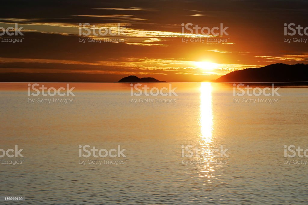colorful lake sunset royalty-free stock photo