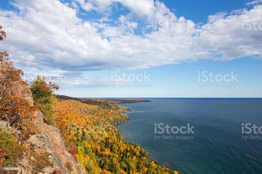 Colorful Lake Superior Shoreline with Dramatic Sky stock photo