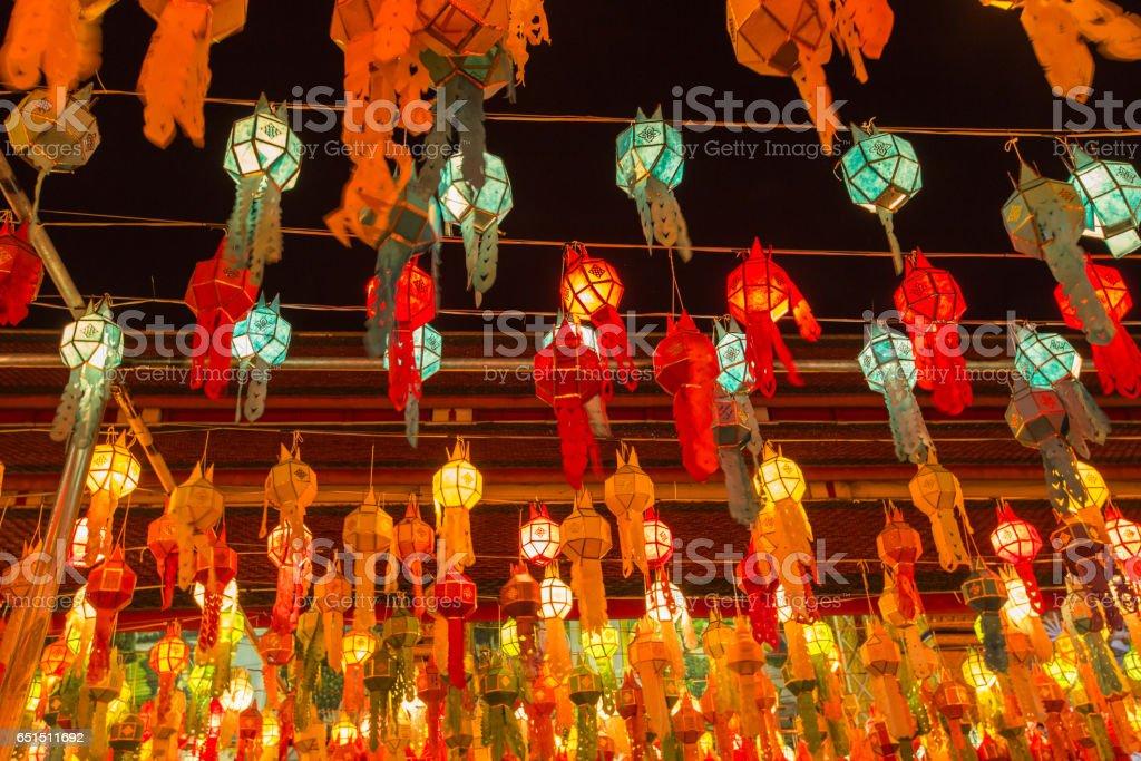 Colorful Lamp and lantern in Loi Krathong. stock photo