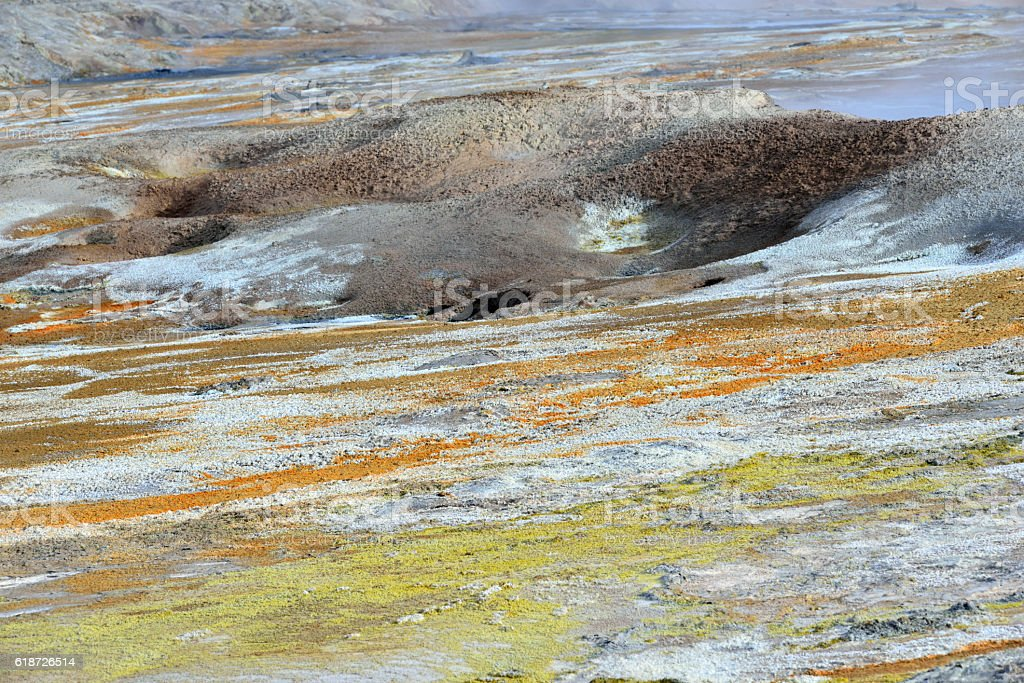Colorful Landscape at Namaskard in Iceland stock photo