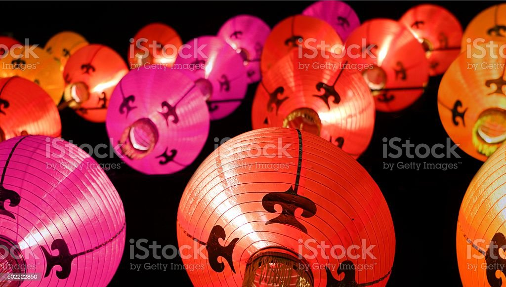 Colorful lanterns at night - Chinese New Year decorations stock photo