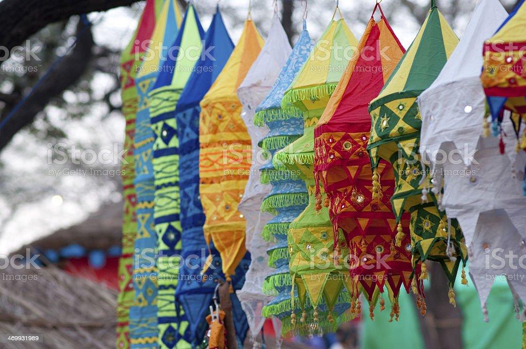 Colorful lanterns at Surajkund Mela stock photo