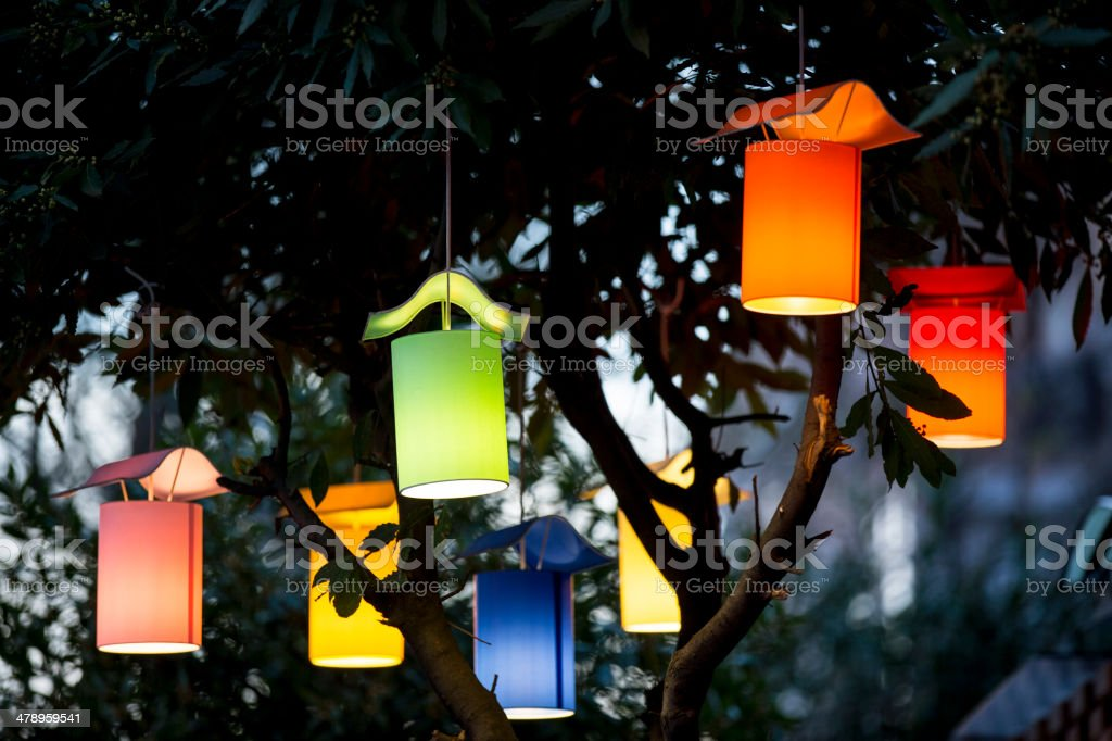 Colorful lanterns on the tree stock photo