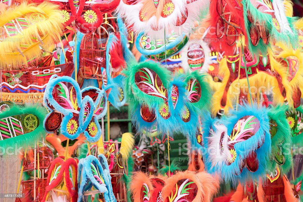 Colorful lanterns selling at market for Mid Autumn stock photo
