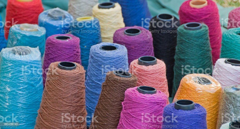 Colorful Large Spools of Thread stock photo
