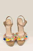 Colorful  leather wedge sandals with beads and tassels
