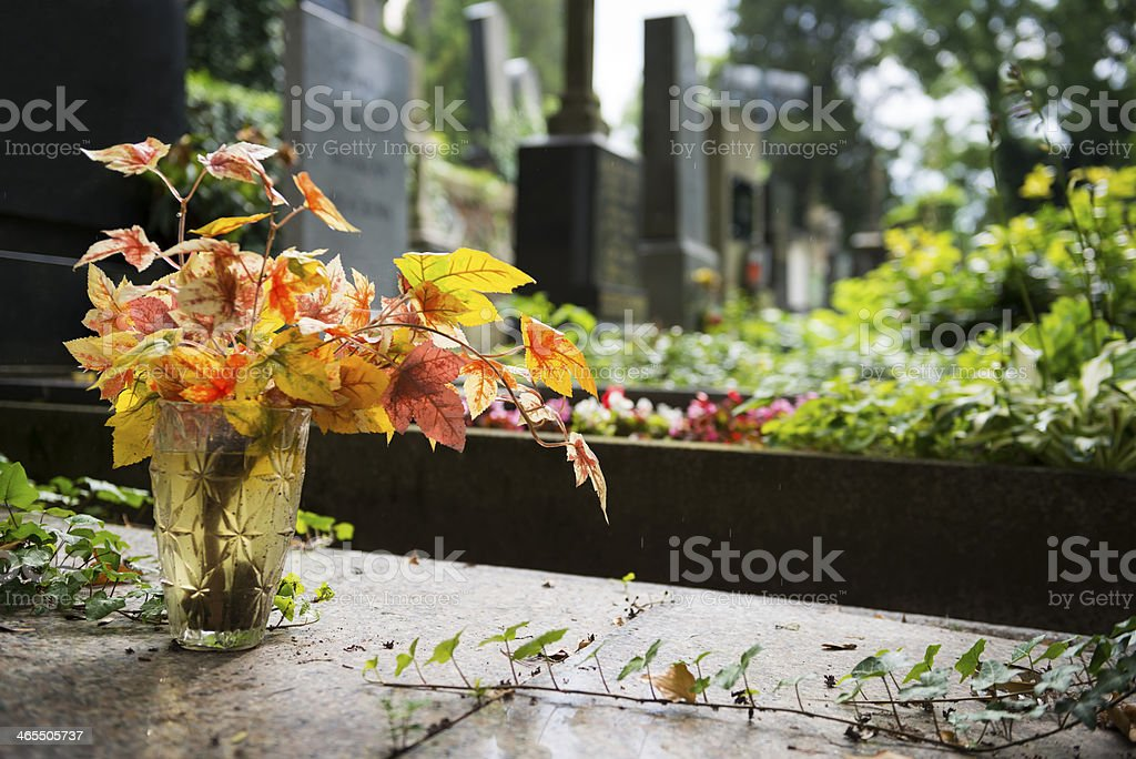 Colorful leaves in cemetery stock photo