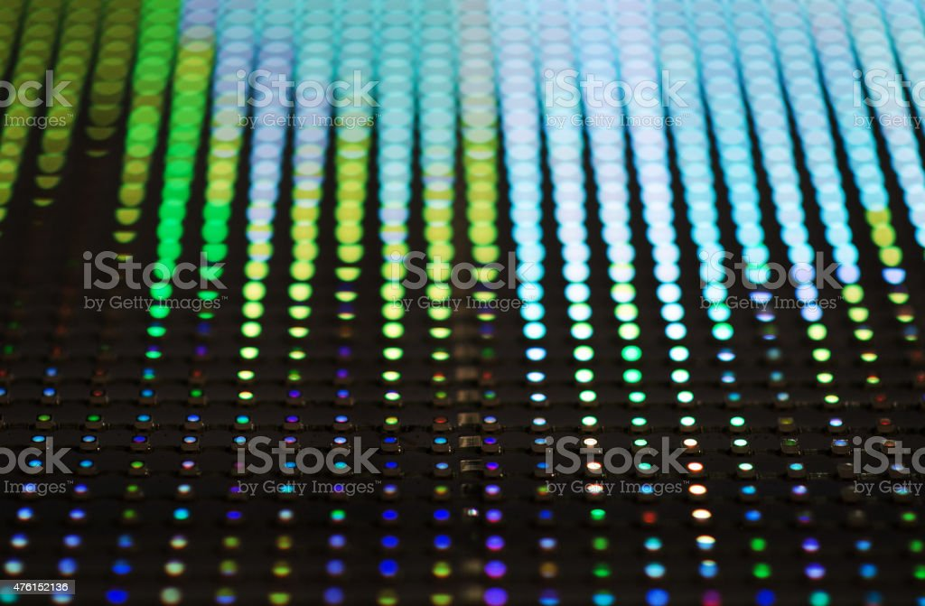 Colorful LED (light emitting diodes) display panel with bokeh effect. stock photo