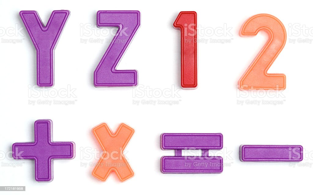 Colorful letter magnets on a white background stock photo