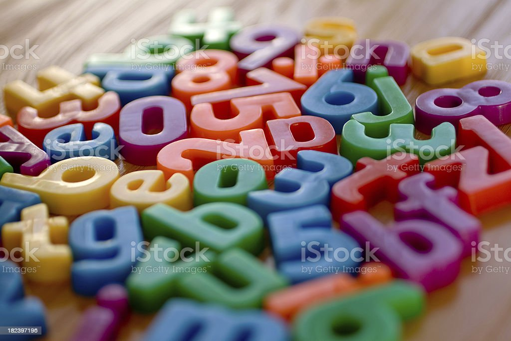 Colorful letter magnets stock photo