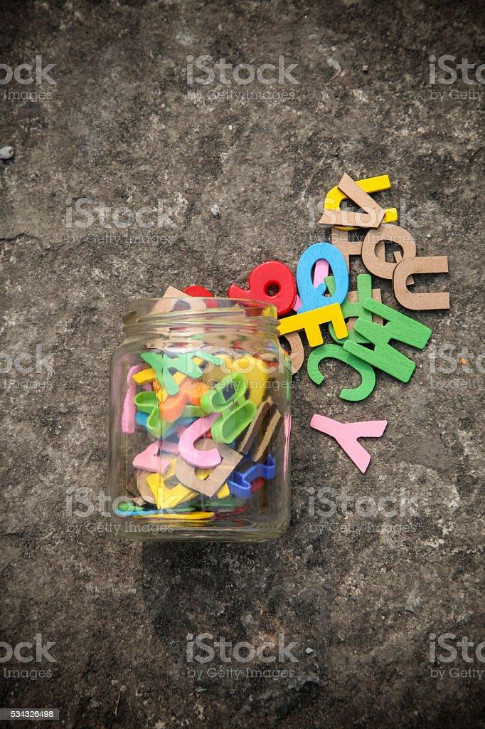 Colorful Letterpress alphabets stock photo