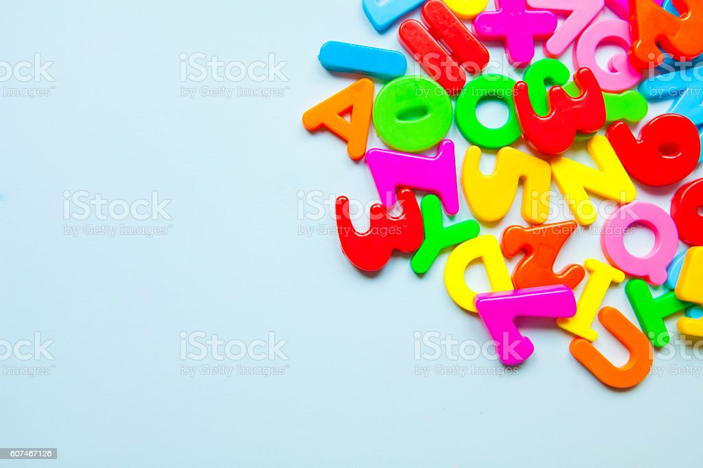 Colorful letters at frame stock photo