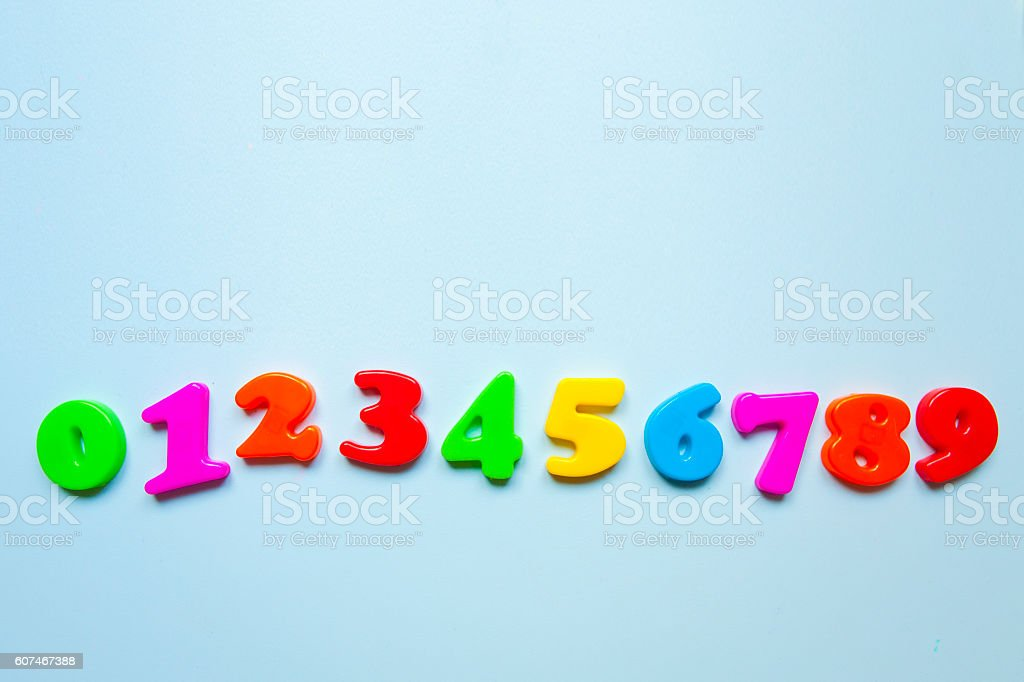 Colorful letters at numbers stock photo