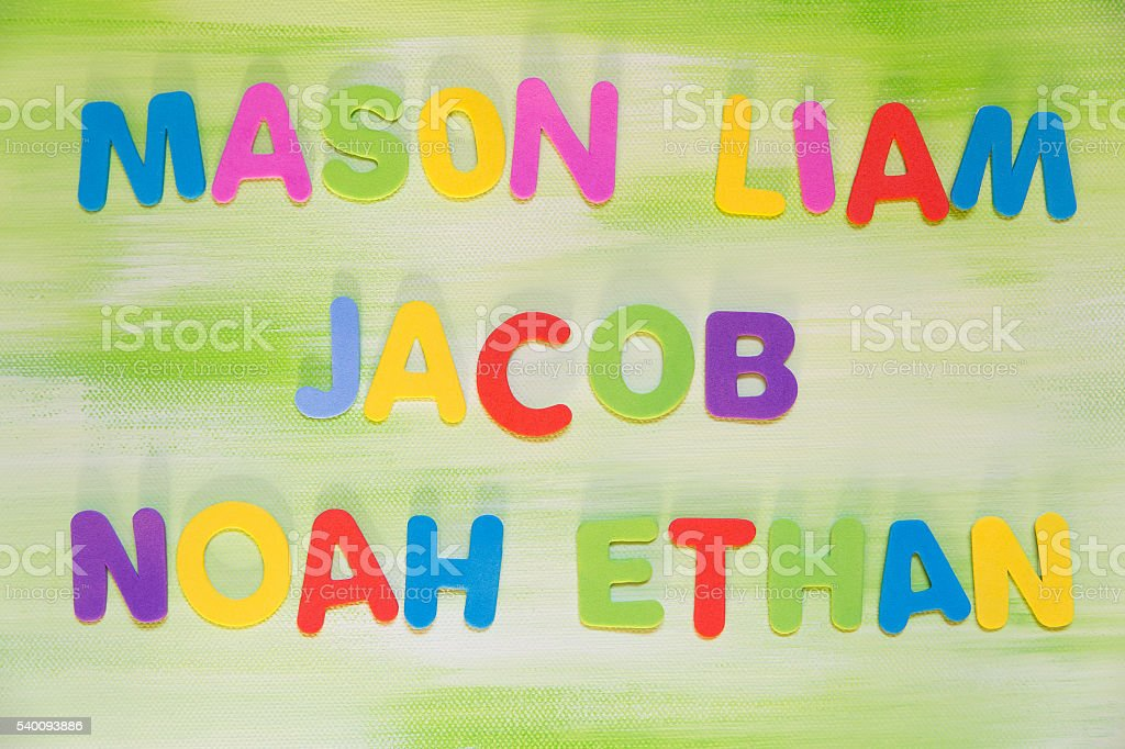 colorful letters, favorite boy´s names stock photo
