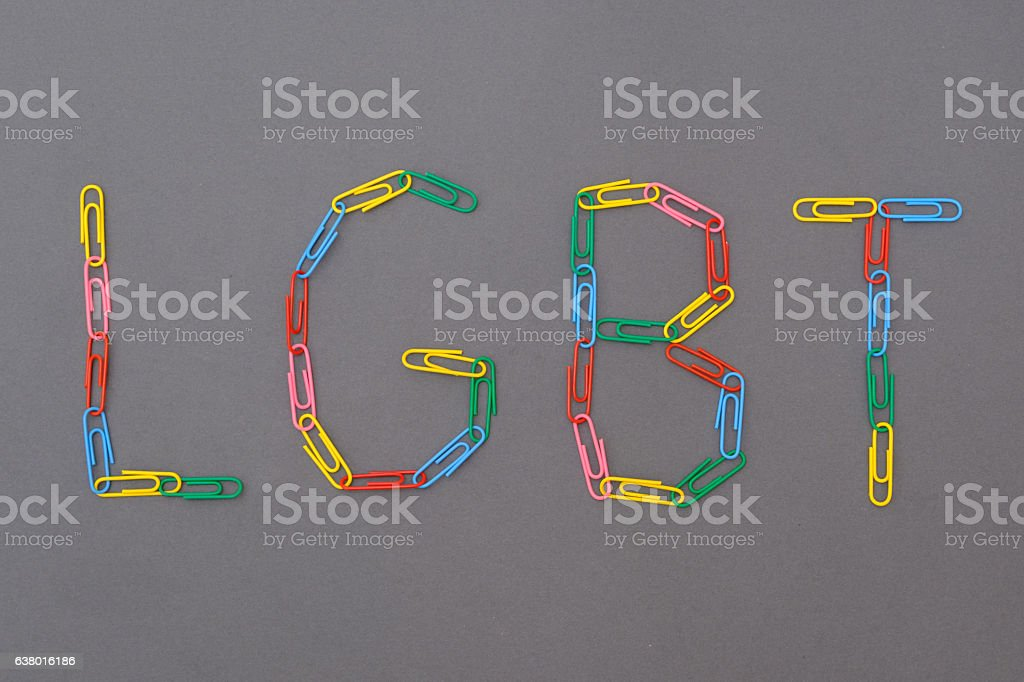 Colorful lgbt word isolated and made of paperclips stock photo