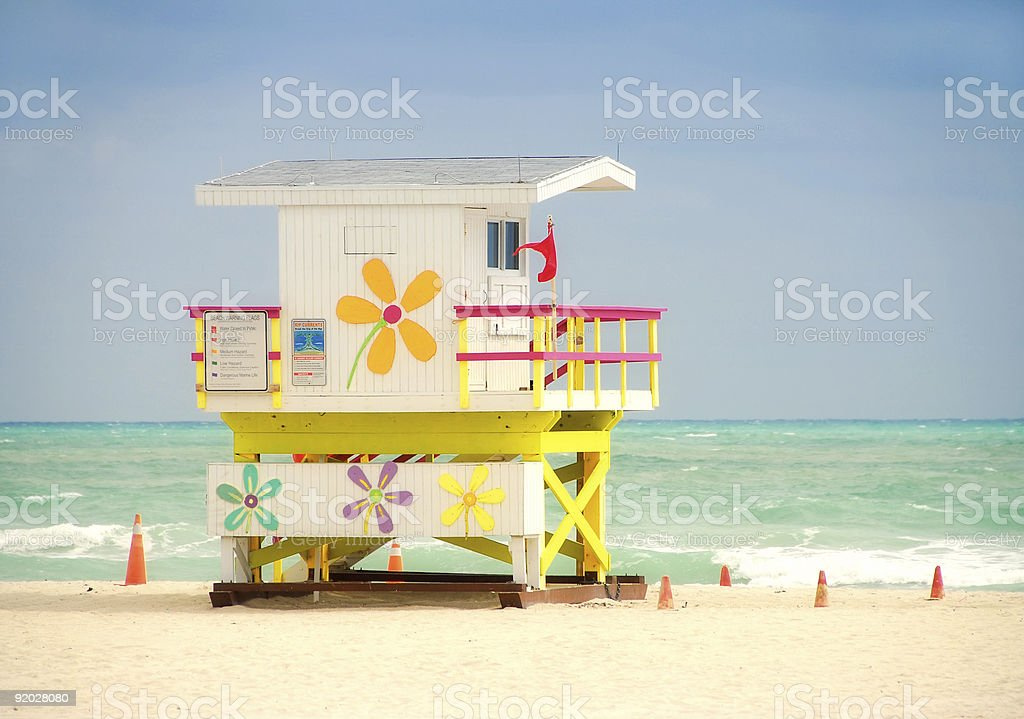 Colorful lifeguard tower royalty-free stock photo