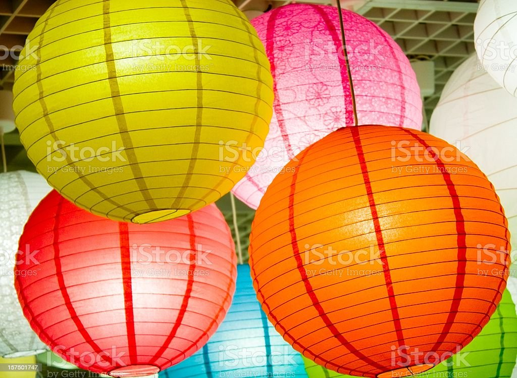 colorful lighting paperlamps royalty-free stock photo