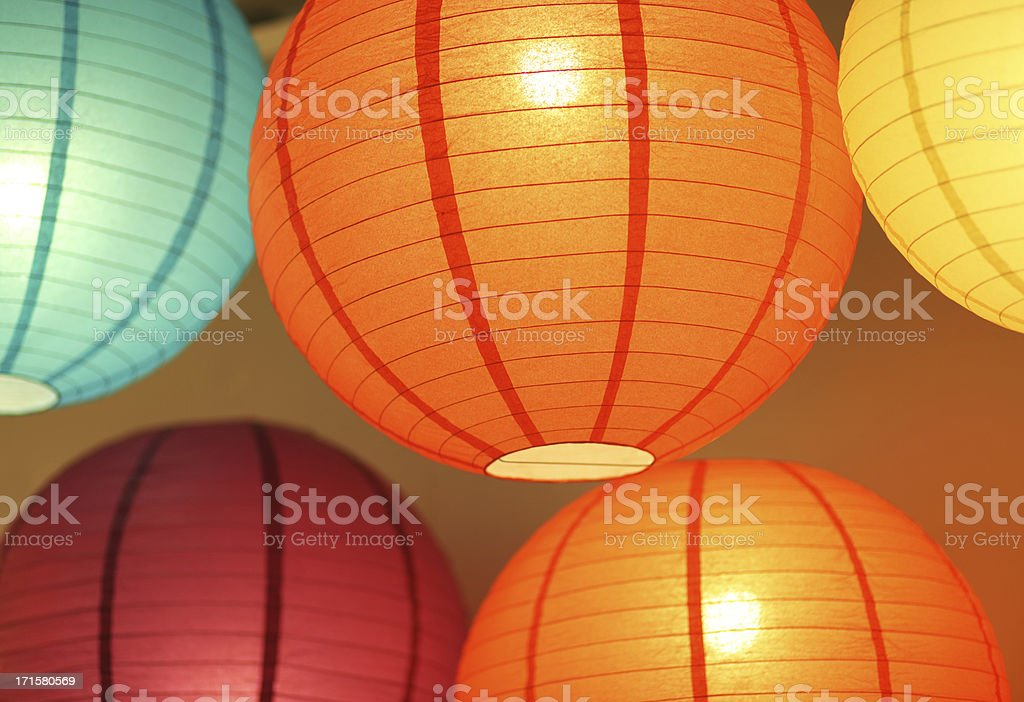 colorful lighting paperlamps stock photo