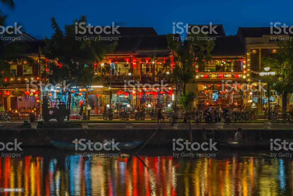 Colorful lights on river in Hoi An, Vietnam stock photo