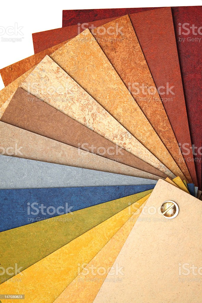 Colorful linoleum card sample for reference stock photo
