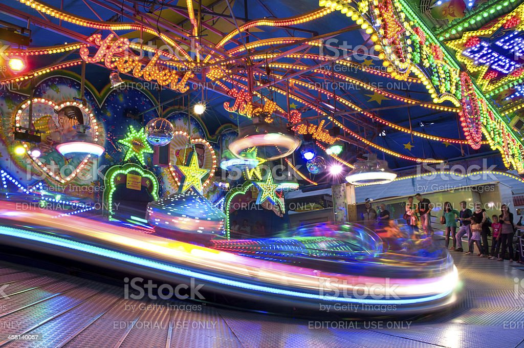 Colorful lit Merry-Go-Round royalty-free stock photo