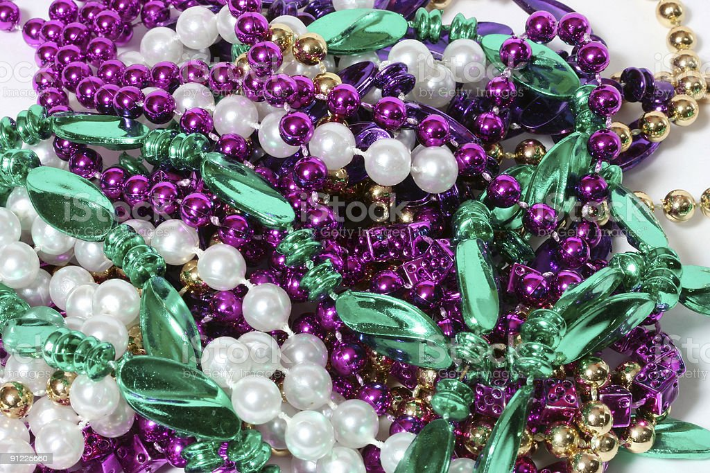Colorful Little Festive Beads of Mardi Gras royalty-free stock photo