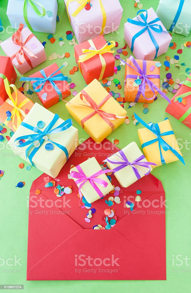 Colorful little presents stock photo