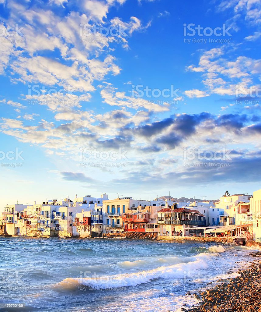 Colorful Little Venice on Mykonos island, Greece stock photo