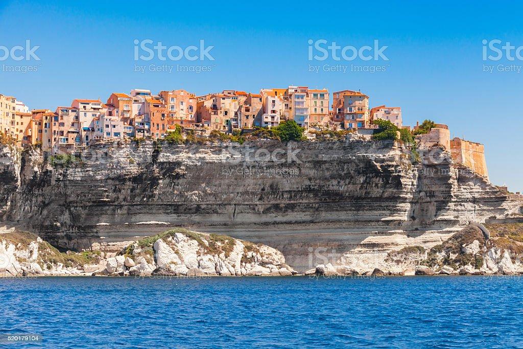 Colorful living houses on rocky coast, Bonifacio stock photo