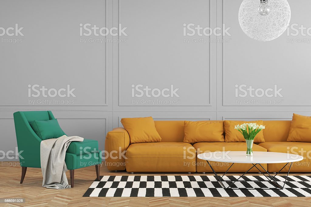 Colorful living room with orange sofa stock photo