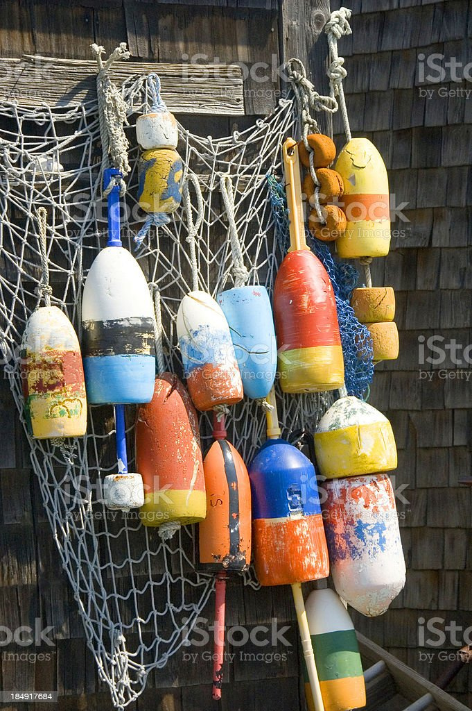 Colorful lobster buoys royalty-free stock photo
