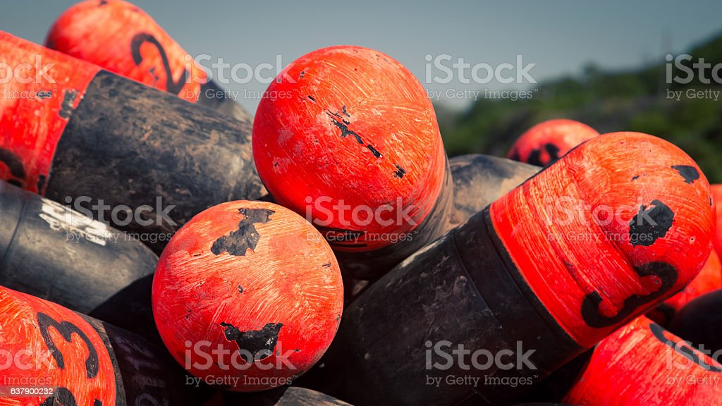 colorful lobster buoys stock photo