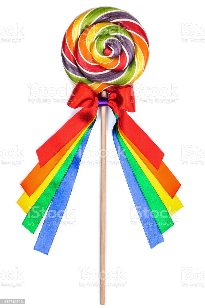 Colorful lollipop with ribbons stock photo