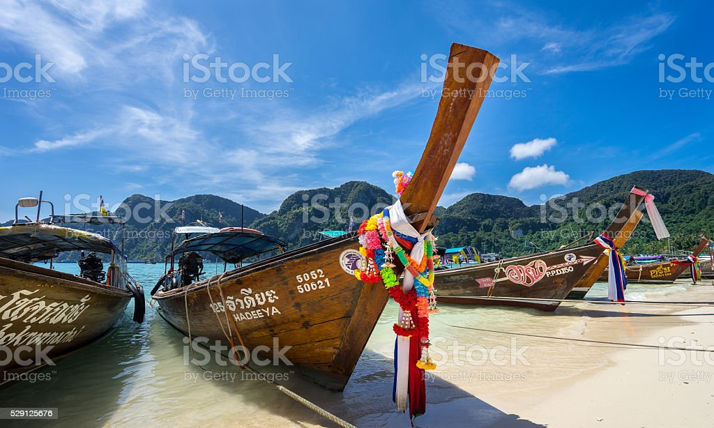 Colorful Longtail Boats Thailand stock photo