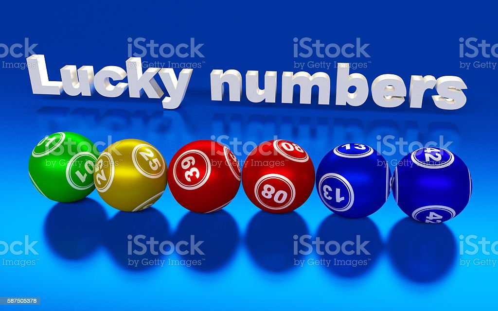 Colorful lucky lottery numbers on the blue background. stock photo
