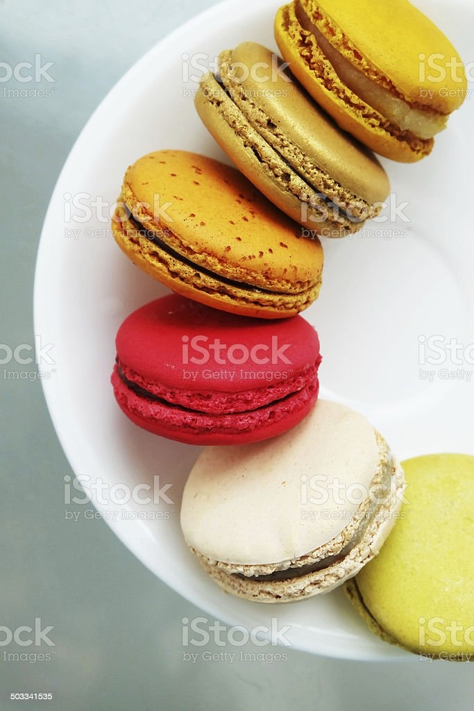 Colorful Macarons in the dish stock photo