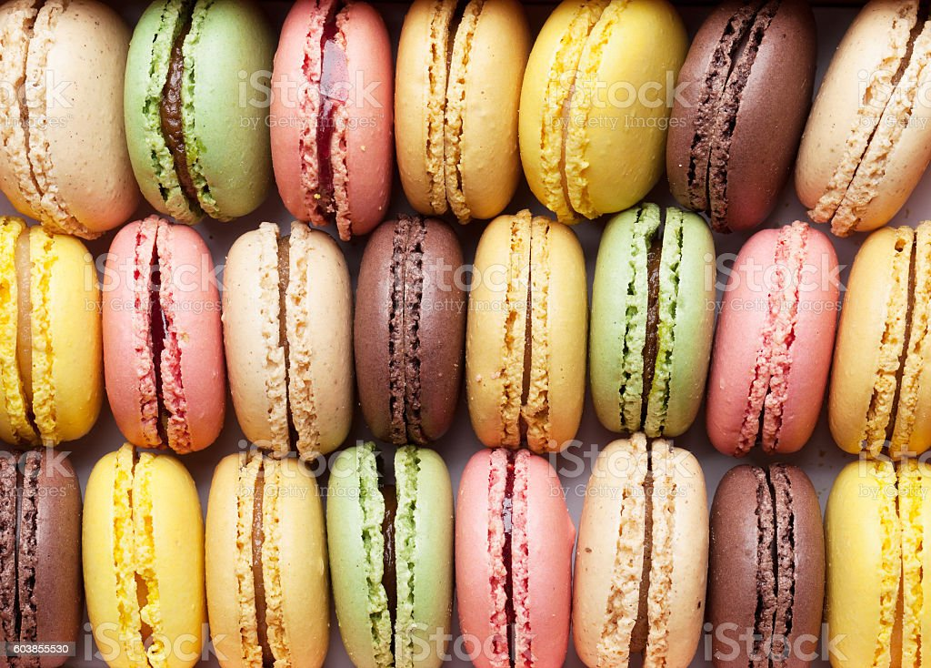 Colorful macaroons. Sweet macarons stock photo