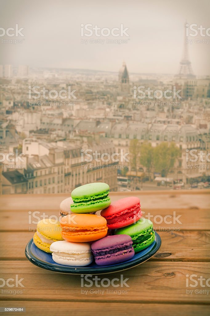 Colorful Macaroons with Paris view stock photo