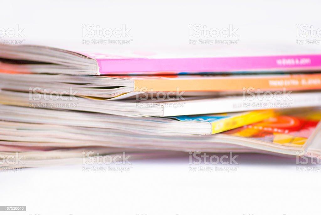 Colorful magazines close up stock photo
